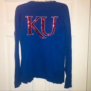 VS PINK KU Jayhawks Sequin Blue Cardigan Sweater